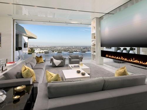 Phòng khách tại căn biệt thự Opus với mức giá 100 triệu USD do Niles Niami phát triển. Ảnh: The Guardian.