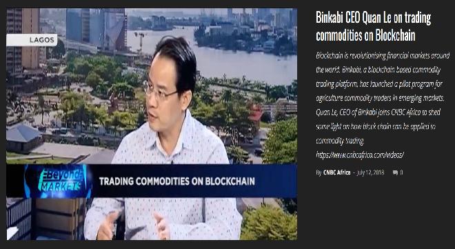 CEO Quân Lê trả lời phỏng vấn CNBC về hợp tác chiến lược trong việc phát triển một sàn giao dịch hàng hoá dựa trên blockchain đầu tiên trên thế giới tại Nigeria.