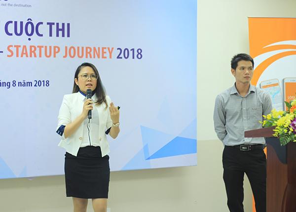 Trưởng nhóm Cao Thị Thanh Thư thuyết trình về dự án. Ảnh: Hà Trương
