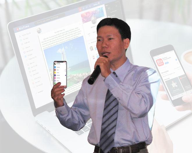 Anh Vũ Văn Anh - nhà sáng lập Biz Time giới thiệu dự án khởi nghiệp trong một lần tìm kiếm nhà đầu tư.