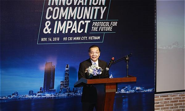 Ông Chu Ngọc Anh - Bộ trưởng Bộ Khoa học và Công nghệ phát biểu khai mạc sự kiện.