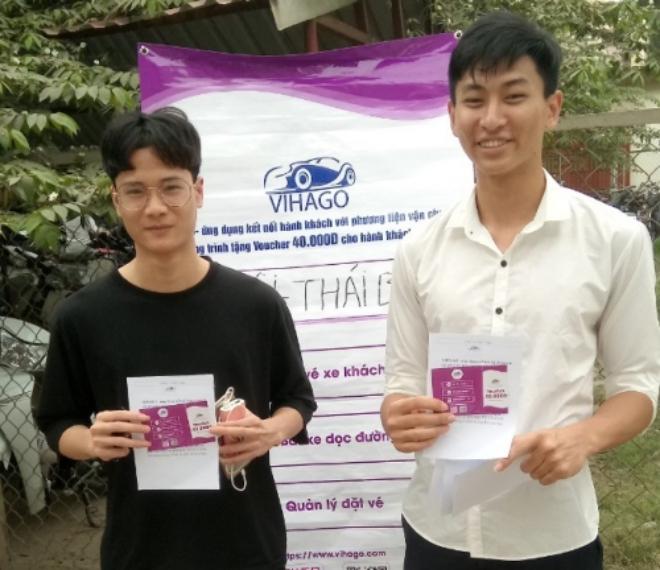 Hành khách nhận voucherkhi đặt vé xe tuyến Thái Bình - Hà Nội.