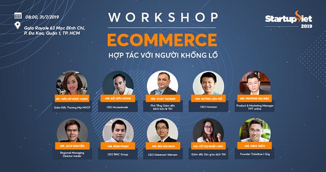 Dàn chuyên gia nhiều năm kinh nghiệm trong lĩnh vực thương mại điện tử tham gia hội thảo.