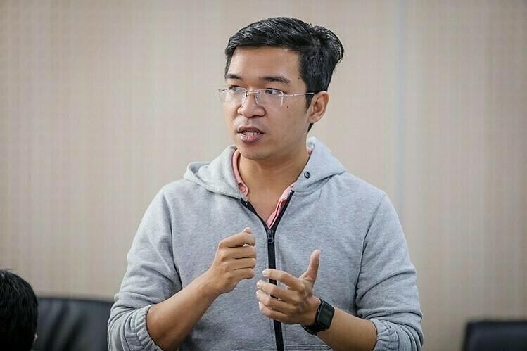 Nguyễn Thắng Duy, đại diện QR Guiding trình bày dự án tại chương trình Startup Việt 2019