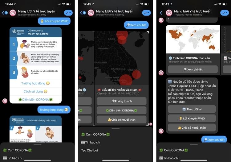 Các tương tác thông tin qua Chatbot.