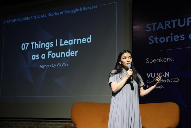Chị Hồng Vũ chia sẻ tại sự kiện dành cho các startup founders