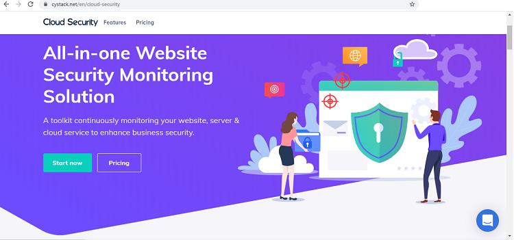 Giao diện trang web sản phẩm bảo mật Cloud Security.