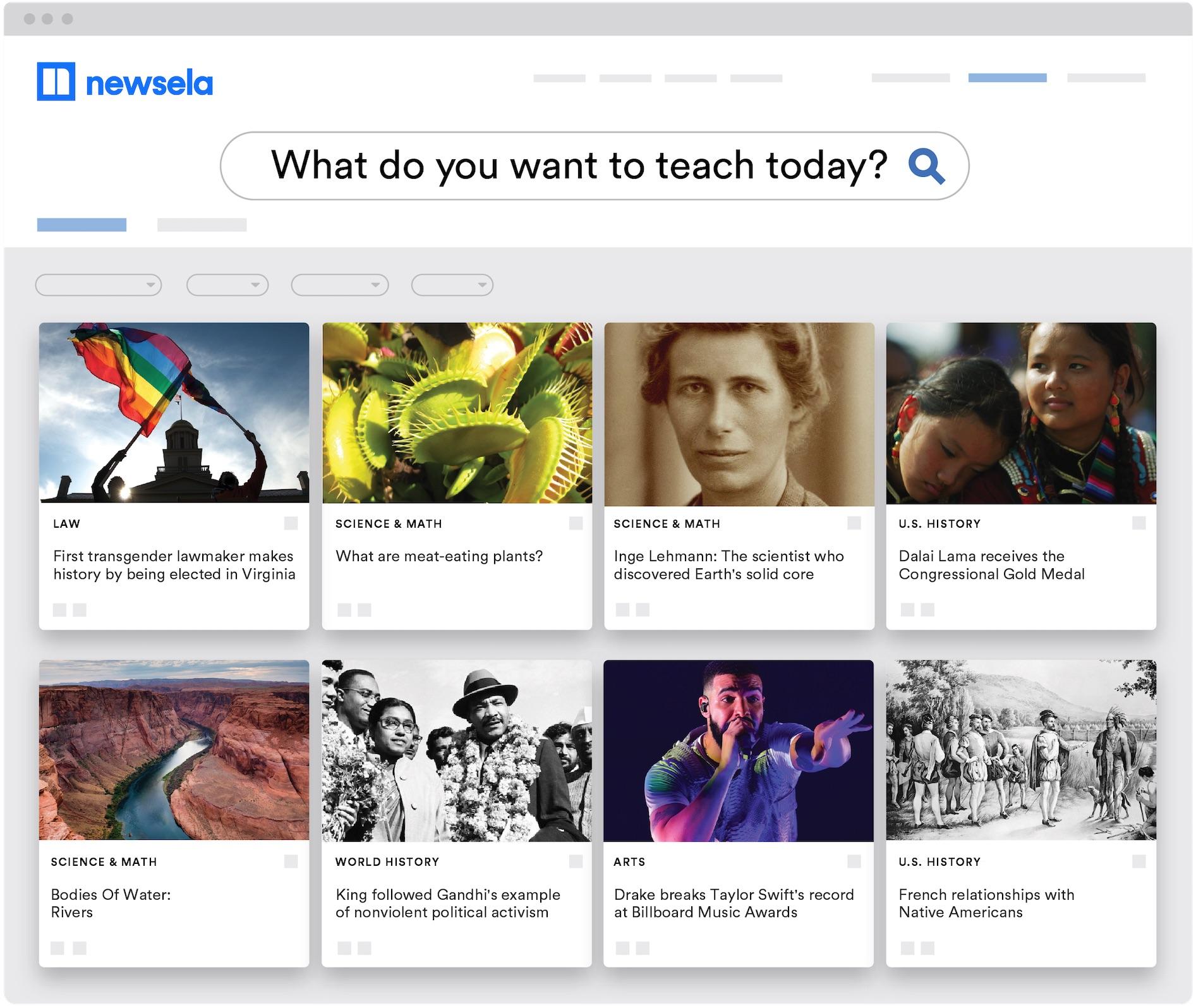 Giao diện của Newsela với những chủ đề giáo dục khác nhau. Ảnh: Newsela.