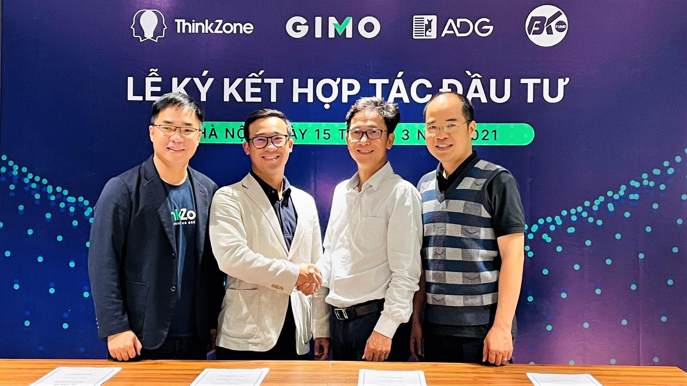 Đại diện Gimo, ThinkZone, BK Fund... trong lễ ký kết hợp tác đầu tư. Ảnh: