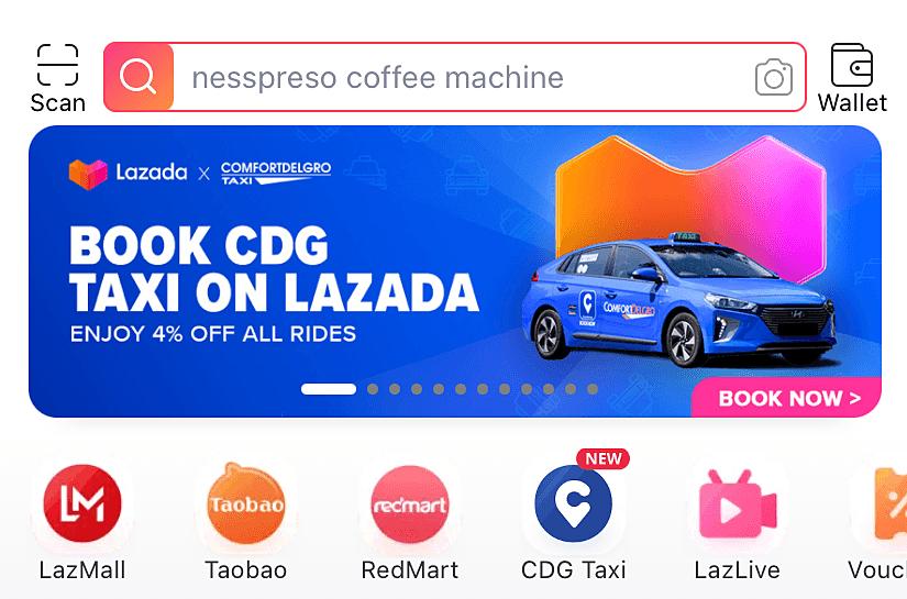 Giao diện ứng dụng Lazada tại Singapore.