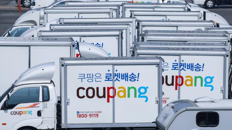 Xe tải Coupang ở Seoul: Đợt phát hành cổ phiếu lần đầu ra công chúng của một công ty nước ngoài ở Mỹ là lớn nhất kể từ khi Alibaba Group Holding của Alibaba vào năm 2014. © Yonhap / Kyodo