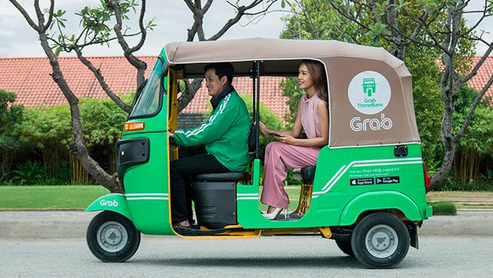 Grab có các dịch vụ khác nhau tại các thị trường trong khu vực. Tại Myanmar, người dùng có thể yêu cầu taxi xe kéo có tên Grab ThoneBane. Ảnh do Grab