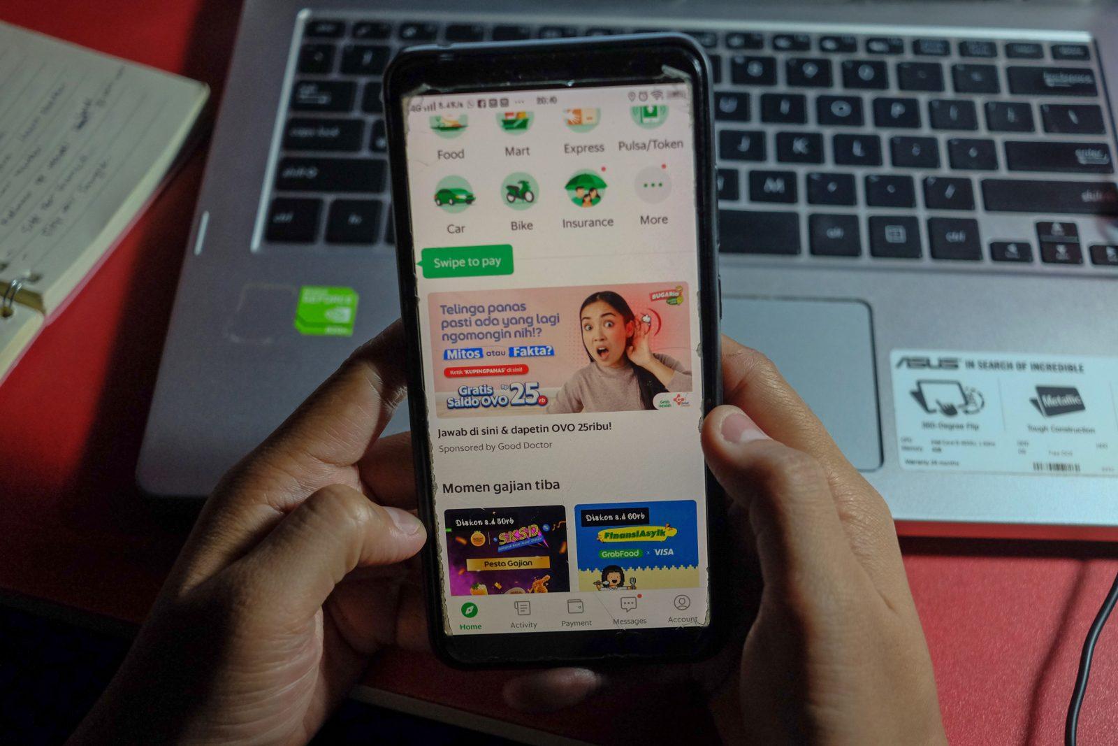 Giao diện các dịch vụ được cung cấp trên nền tảng Grab.